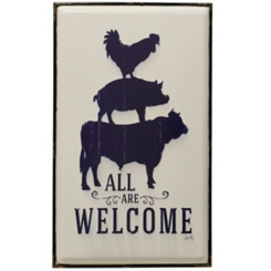 All Are Welcome Farmhouse Animals Plaque