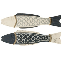 Weathered Blue Perch Plaques, Set of 2