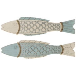 Weathered Green Perch Plaques, Set of 2