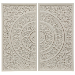 White Washed Artisan Panel Plaques, Set of 2