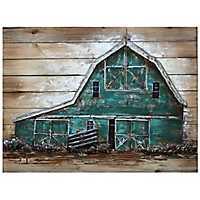 Teal Barn House Metal Art Print