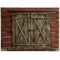 Wood and Metal Old Barn Door Wall Plaque
