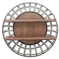 Round Metal Basket Wood Shelf