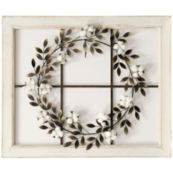 Windowpane with Cotton Wreath Wall Plaque