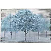Blue Hazed Trees Painted Wood Art Print
