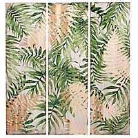 Green Seaside Botanical Wood Art Prints, Set of 3