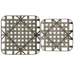 Crosshatch Woven Metal Wall Plaques, Set of 2