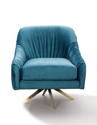 Pleated Blue Velvet Swivel Accent Chair