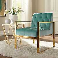 Turquoise Velvet Tufted Gold Frame Accent Chair