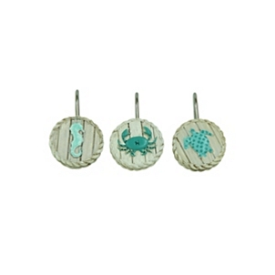 Coastal Patchwork Shower Curtain Hooks Set Of 12
