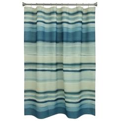 Navy Coastal Stripe Shower Curtain