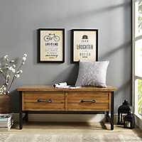 Rylan Natural Wood Entryway Storage Bench