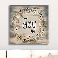 Joy Jingle Bell Wreath Canvas Art Print