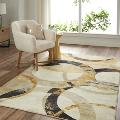 Gray and Gold Mirrored Rings Area Rug, 5x8
