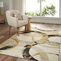 Gray and Gold Mirrored Rings Area Rug, 8x10