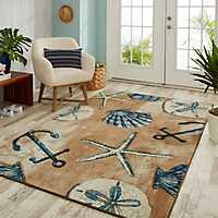 Shells and Sand Tide Pool Area Rug, 8x10