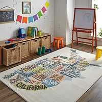 United States Map Kids Area Rug, 5x8