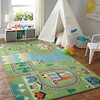 Play Train Track Kids Area Rug, 5x8