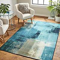 Blurred Aqua Geo Area Rug, 8x10