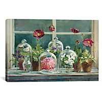 Purple Poppies Windowsill Canvas Art Print