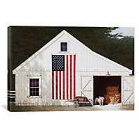 Barn with Piglet Canvas Art Print
