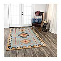 Teal Blue Southwest Area Rug, 5x8