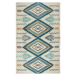 Blue and Gold Southwest Area Rug, 5x8