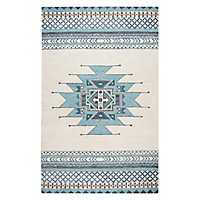 Blue and Ivory Southwest Area Rug, 5x8