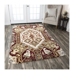 Rust and Tan Southwest Area Rug, 5x8