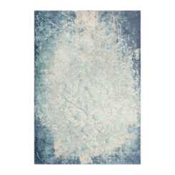 Clara Teal and Ivory Power Loomed Area Rug, 5x8