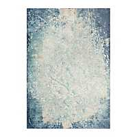 Clara Teal and Ivory Power Loomed Area Rug, 8x10