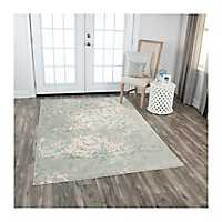 Teal and Gray Clara Area Rug, 5x8
