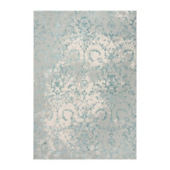 Clara Gray and Teal Power Loomed Area Rug, 8x10