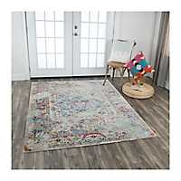 Blue, Purple, and Yellow Prism Area Rug, 5x7