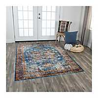 Blue and Orange Prism Area Rug, 5x7