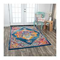 Blue Medallion Rothrock Area Rug, 5x8