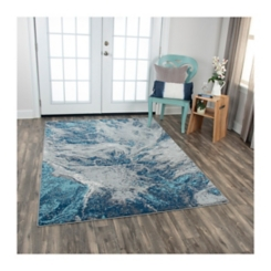 Blue and Gray Abstract Rothrock Area Rug, 8x10