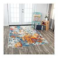Orange and Blue Abstract Rothrock Area Rug, 5x8