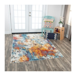 Orange and Blue Abstract Rothrock Area Rug, 8x10