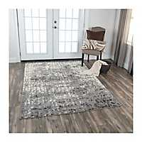 Gray and Ivory Valeria Abstract Area Rug, 5x8