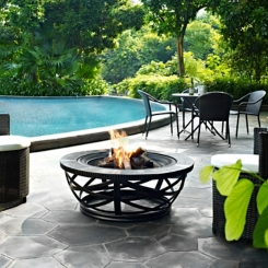 Tuscan Black Round Slate Fire Pit