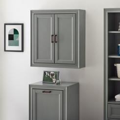 Tyler Vintage Gray Linen Wall Cabinet