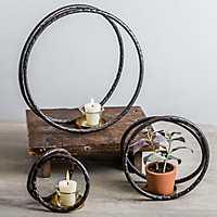 Metal Circles Tea Light Holders, Set of 3