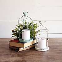 Open Cage with Bird Candle Holders, Set of 2