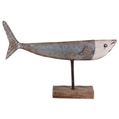 Galvanized Metal and Cream Fish on Stand