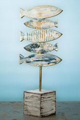 Watercolor Stacked Fish on Stand