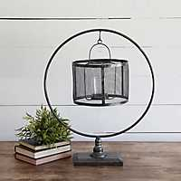 Hanging Metal Cage on Circle Stand Votive Holder