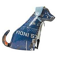 Large Recycled Metal Sitting Dog Statue