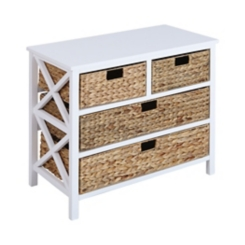 Penny White Chest with 4-Woven Baskets