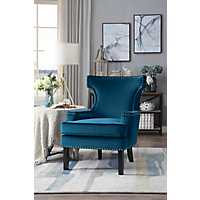 Natalie Blue Velvet Nailhead Accent Chair